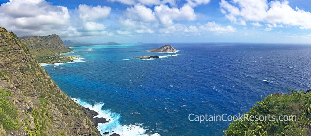 Panoramic view from Makapuu lighthouse trail on Oahu