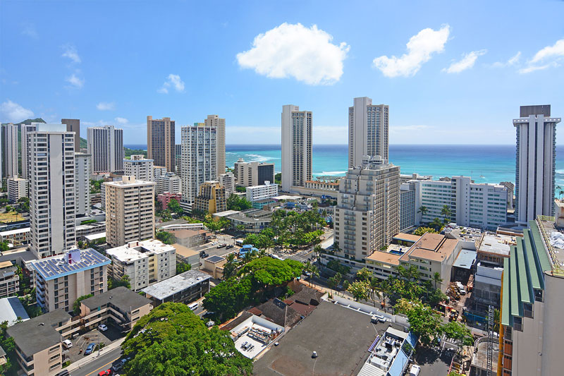 View of Waikiki from rooftop sundeck