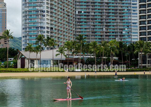 Peaceful lagoon behind Ilikai and Hilton
