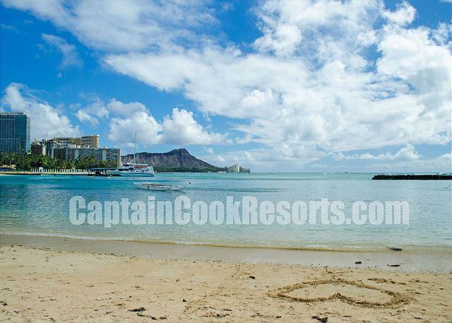 Waikiki Beach behind Ilikai Hotel & Apartments