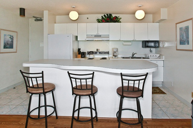 Full kitchens at the Waikiki Banyan vacation rentals