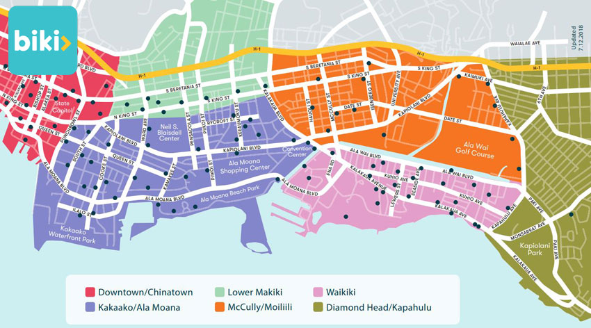 Biki map for Honolulu