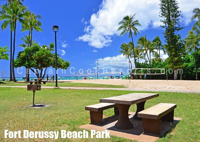 Ft DeRussy beach park next to Waikiki Shore
