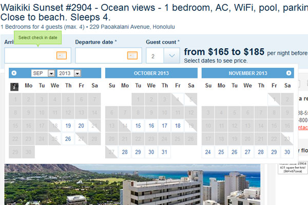 Vacation rental booking calendar