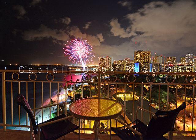 Fireworks near Waikiki Shore